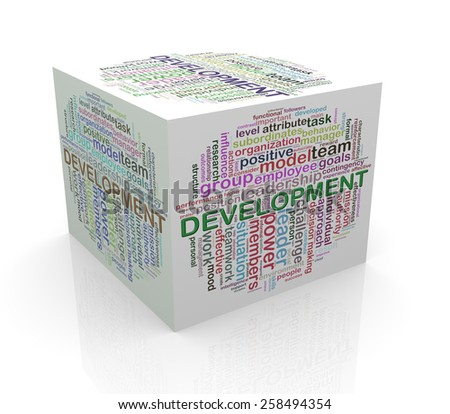 3d rendering of cube box of wordcloud word tags of development - stock photo