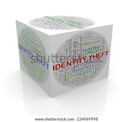 3d rendering of cube box of wordcloud word tags of identity theft - stock photo