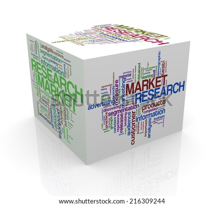 3d rendering of cube box of wordcloud word tags of market research - stock photo