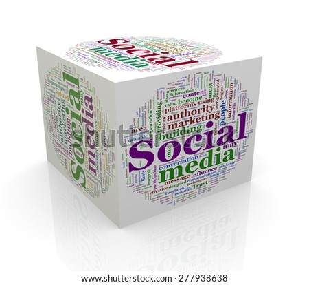 3d rendering of cube box of wordcloud word tags of social media - stock photo