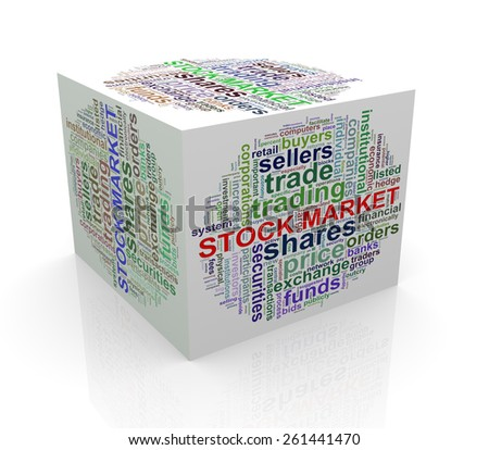 3d rendering of cube box of wordcloud word tags of stock market - stock photo