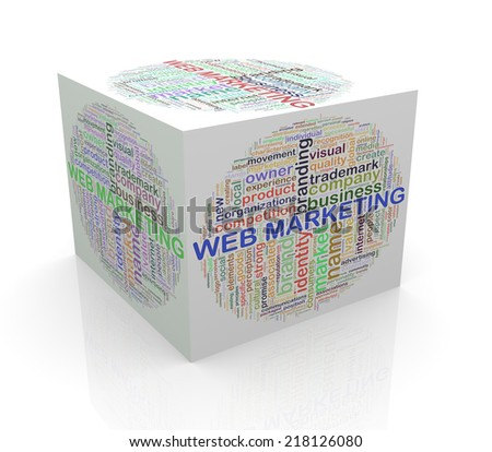 3d rendering of cube box of wordcloud word tags of web marketing - stock photo