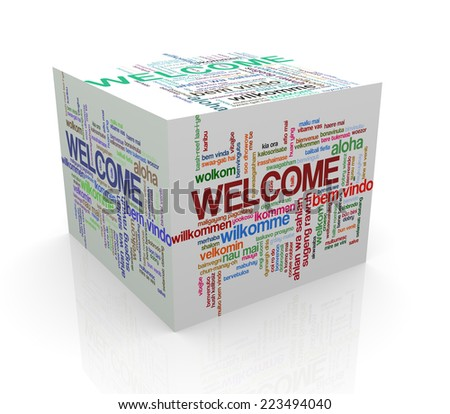 3d rendering of cube box of wordcloud word tags of word welcome in different languages - stock photo