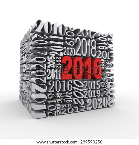 3d rendering of cube shape created with various year numbers and having one large new year 2016