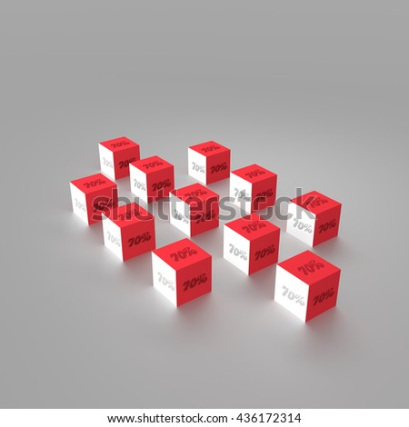 3d rendering of cube with 70 percent sign