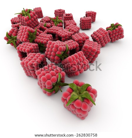 3D rendering of cubic raspberries over a white background - stock photo
