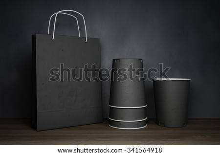 3D rendering of cups mockup - stock photo