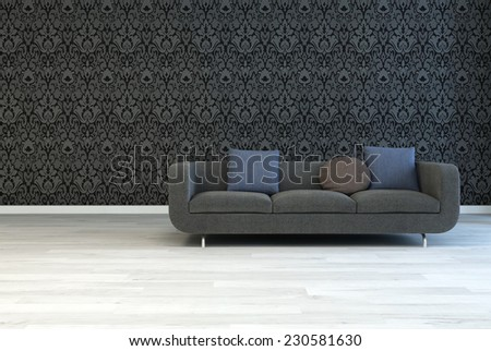 3D Rendering of Dark Gray Sofa with Square and Round Pillows on an Architectural Lounge Room with Artistic Black Floral Pattern Wall and Off White Wooden Floor. - stock photo