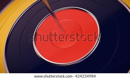 3D rendering of dart arrow hitting in the target center of dartboard closeup - stock photo