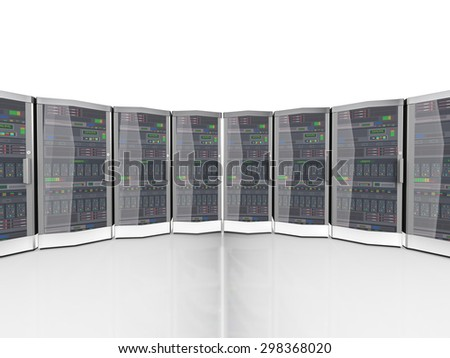 3d rendering of data computer networking servers - stock photo