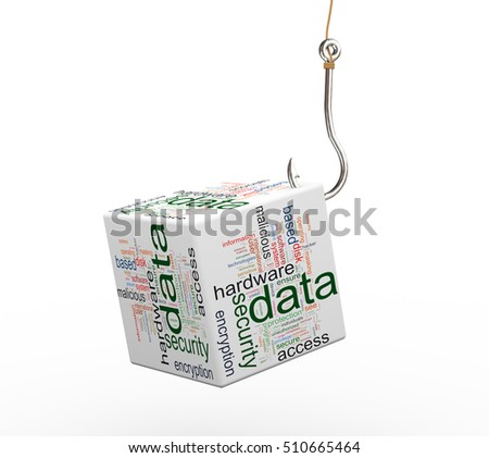 3d rendering of data protection wordcloud cube attached to fishing hook