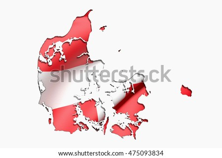 3d rendering of Denmark map and flag on white background.