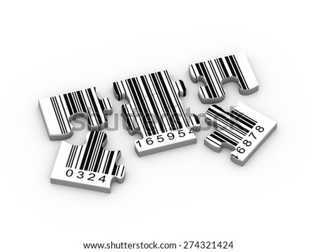 3d rendering of detach puzzle pieces of bar code - stock photo