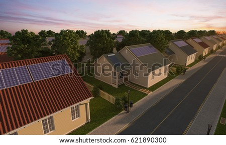 3D rendering of Detached Houses with Solar Panels