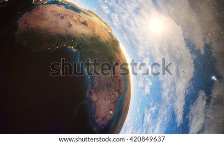 3D rendering of detailed colorful Earth,  highly detailed planet earth in the evening, sunrise in africa, Elements of this image furnished by NASA