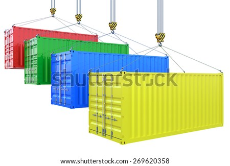 3d rendering of different colors cargo containers on the crane hook isolated - stock photo