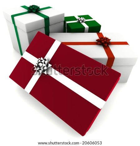 3d rendering of different sized red, green and white presents.
