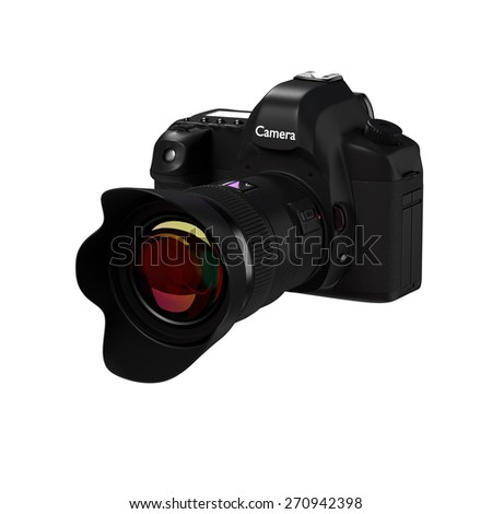 3d rendering of digital camera models in white background. - stock photo