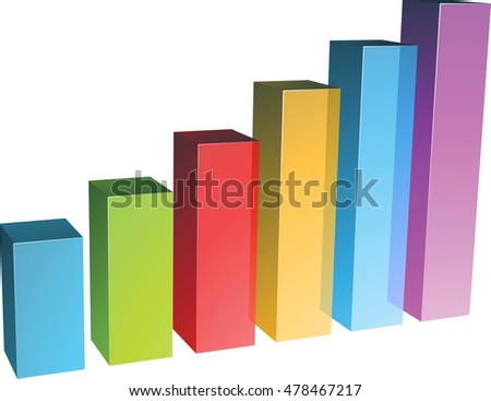 3D rendering of digital charts on white background 3D rendering