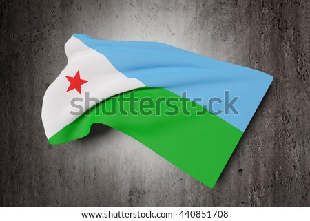 3d rendering of Djibouti flag waving on a dirty background