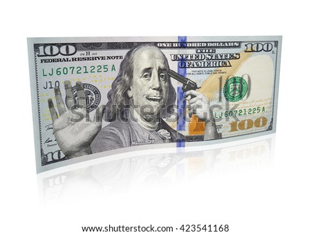 3D rendering of 100 dollar bill - stock photo
