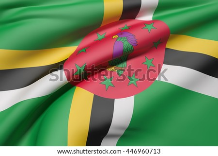 3d rendering of Dominica flag waving