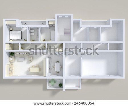 3d rendering of double apartment with furnishings - stock photo