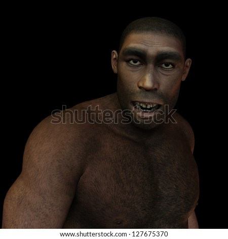 3D rendering of early man Homo erectus - stock photo