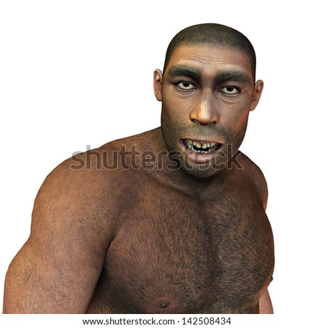 3D rendering of early man, Homo erectus - stock photo
