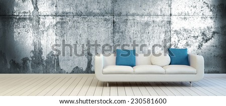 3D Rendering of Elegant Couch with White and Blue Green Pillows on an Empty Living Room with Vintage Metal Wall Background and Off White Wooden Floor. - stock photo