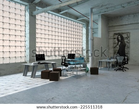 3D Rendering of Elegant Spacious Loft Room Design with High End Computers. Perfect Accommodation Area.