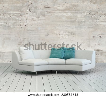 3D Rendering of Elegant White Couch with White and Green Pillows on an Empty Living Room with Unfinished Concrete Wall Design. - stock photo