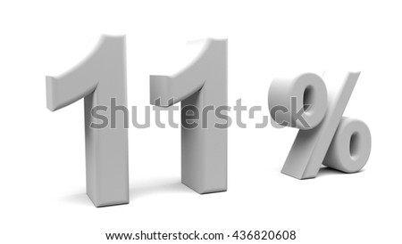 3D rendering of eleven percents text, with big fonts isolated on white background.