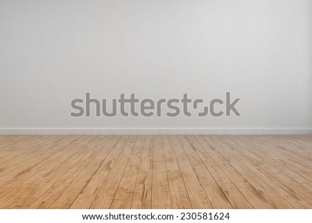 3D Rendering of Empty Room Interior with Off White Wall Plain Wall and Wooden Floor design. - stock photo