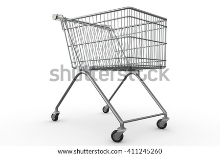 3D rendering of empty shopping chart