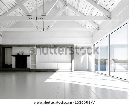 3D rendering of empty white room with large windows and scenic view.