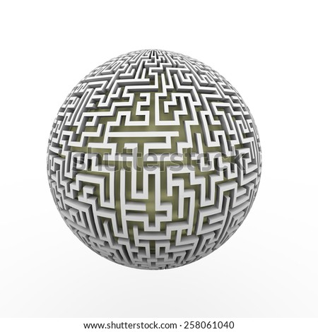 3d rendering of endless maze sphere ball presenting labyrinth planet - stock photo