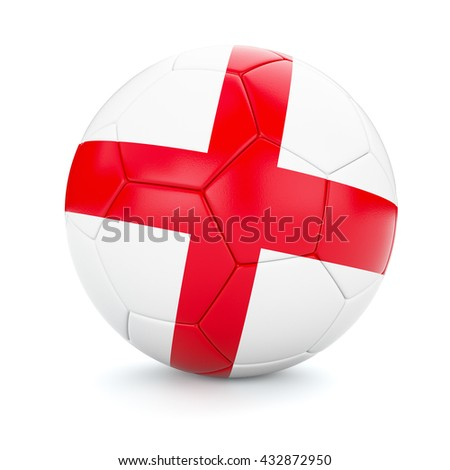 3d rendering of England soccer football ball with English flag isolated on white background - stock photo