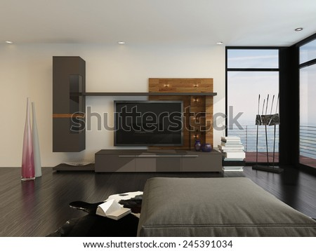 3D Rendering of Entertainment room interior with a large flat screen TV and speakers on a wall alongside floor-to-ceiling glass view windows with a comfy ottoman in the foreground - stock photo