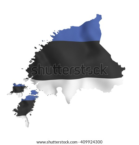 3d rendering of Estonia map and flag on white background. - stock photo