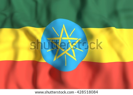 3d rendering of Ethiopia flag waving