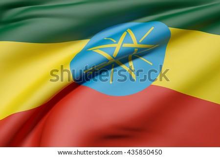 3d rendering of Ethiopia flag waving - stock photo