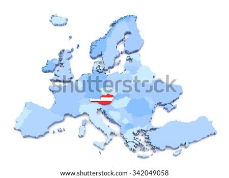 3D Rendering of Europe Map, Austria with Flag - stock photo