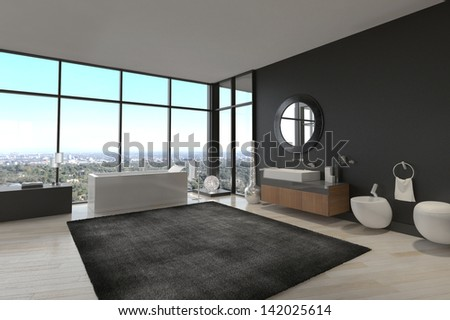 3d rendering of exclusive Luxury Bathroom Interior in a modern Penthouse - stock photo