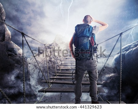 3D Rendering of explorer on unstable bridge