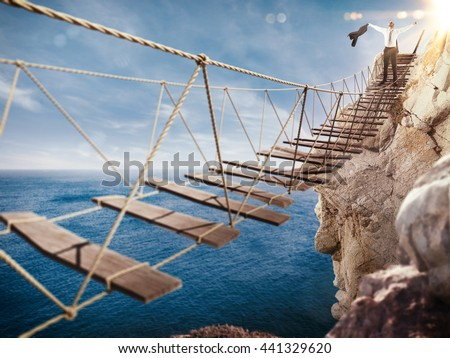 3D Rendering of exultation after overcoming an obstacle - stock photo