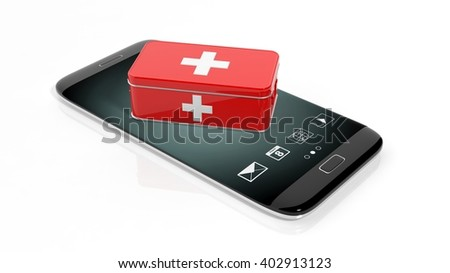 3D rendering of first aid kit on smartphone's screen, isolated on white background.