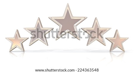 3D rendering of five silver stars isolated on white - stock photo