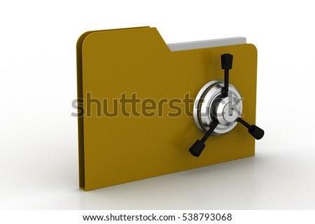 3d rendering of folder icon with security lock