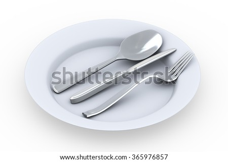 3d rendering of fork, spoon and knife in the plate